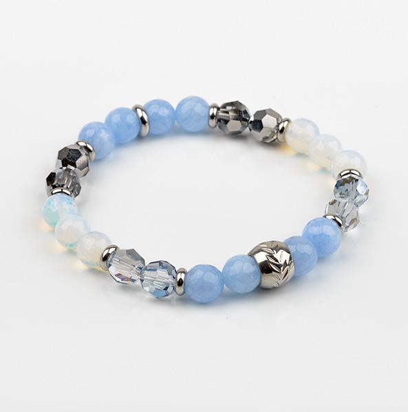 Bracelet élastique bleu et blanc   MOONLIGHT